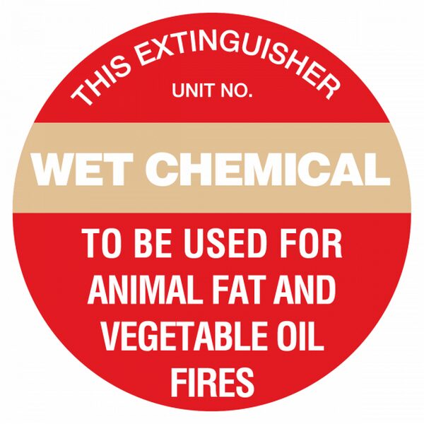 wet chemical type fire extinguisher identification sign