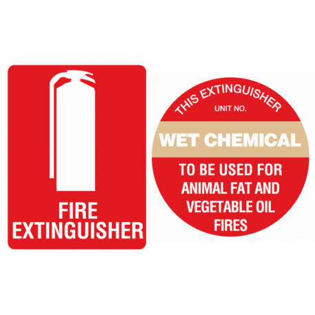 wet chemical fire extinguisher sign kit